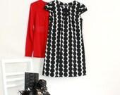 PETITES - LAST MEDIUM Polka Dot Pullover Shift Dress with Gathered Cap Sleeve