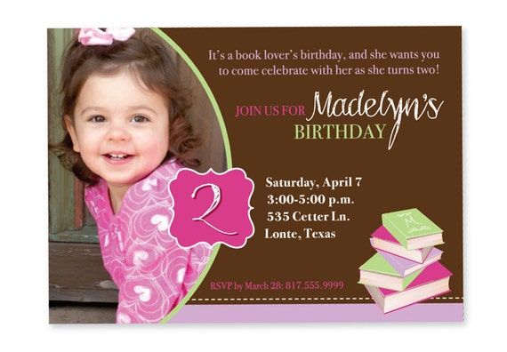 Book Birthday Invitation with picture