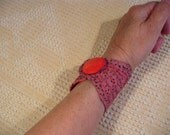 Pink and Red Semi-Outrageous Fabric Cuff