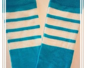 Baby Legs / Leggings / Leg Warmers / Arm Warmers - Bright Neon Blue Athletic Stripes - Boys / Gender Neutral