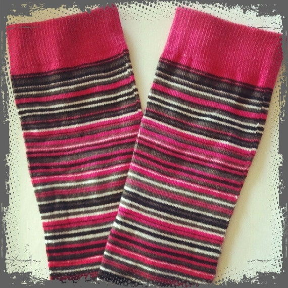 Baby Legs / Leggings / Leg Warmers / Arm Warmers - Fuchsia Pink and Gray Stripes