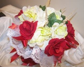 Red Roses and Ivory Flowers Bouquet