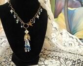 """18"""" Blue Floral Cascade Necklace"""