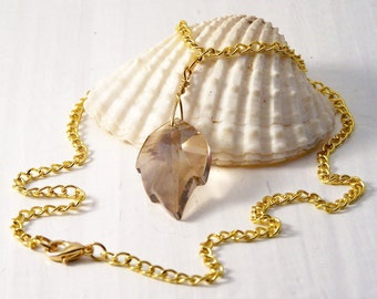 Handmade Leaf Necklace, Swarovski Golden Shadow Leaf Necklace, Swarovski Necklace, Crystal Leaf Necklace, Reduced Price