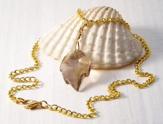 REDUCED PRICE, Handmade Necklace, Swarovski Golden Shadow Leaf Necklace, Swarovski Necklace, Crystal Necklace