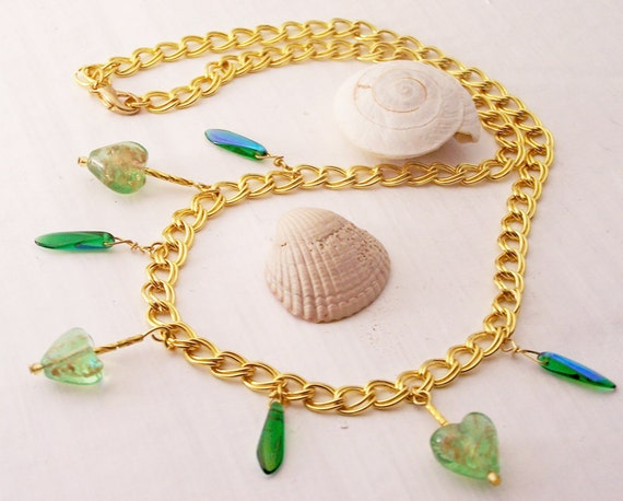 Handmade Necklace, Green Beaded Necklace, Heart Necklace