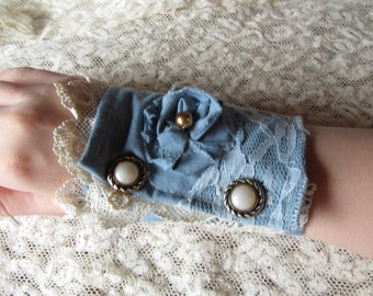 Steampunk Shabby Chic Neo Victorian Wrist Cuff with Vintage Lace and Buttons
