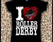 Women's I heart roller derby shirt
