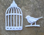 Felt Bird and Birdcage - Choose your own colors - Create Your Own diy - Applique for tshirt, onsies, pillows, bags - Small