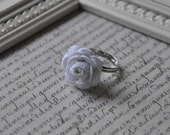 White Rosette Ring - Adjustable, One Size Fits All - Hypo Allergenic - Rick Rack