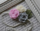 Felt Flower Headband - Skinny Elastic, Leaves, Roses - Baby Pink, Cream White and Soft Grey - Choose your size