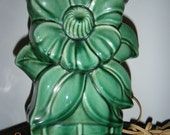 Vintage McCoy Green Sunflower Lamp  1956