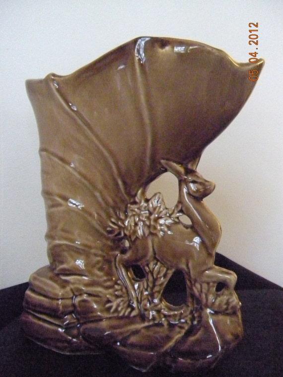 """Vintage McCoy Pottery----9""""Fawn-Deer Vase   1954"""