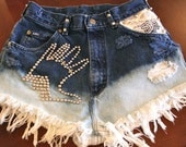 High waisted ombre studded destroyed denim shorts size Sm