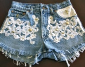 Levis high waist, lace, studded cut off jeans size med (ONLY ONE AVAILABLE)