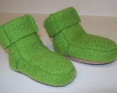 Baby Bootie, Children Wool Slippers , Felt Bootie,  Upcycled Closing, US Sz 2.5