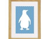 "Polkadot Penguin Print - 5"" x 7"" - Fits Ikea Frame - Any colour"