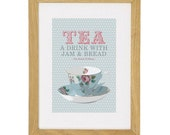 Tea A drink with Jam & Bread - A4 - Fits Ikea Frame - Sky or dusty pink