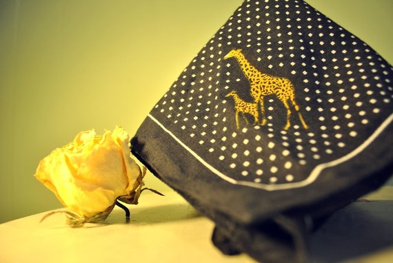 Polka-Dotted Black and White Giraffe Handkerchief