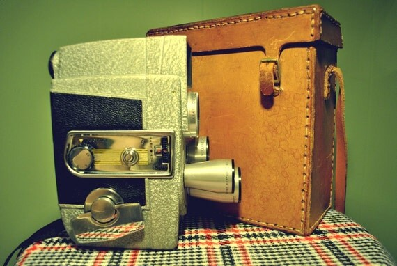 1950s Revere Eye-Matic 8mm Movie Camera with Brown Cowhide Case