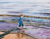 Watercolor Painting of Little Boy Walking on Beach, Boy playing in tide, Paintings of Children, Beach scenes, Crab Cove, San Francisco Bay