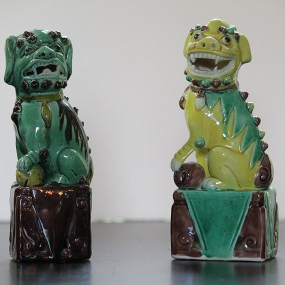 RESERVED FOR ALISON Vintage Yellow and Green Chinese Foo Dog, or Porcelain Temple Guardian Lions Vintage pair (6 Inches) Ceramic