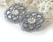 Tatted lace earrings, grey tatting, anti-allergic ear wires