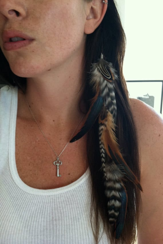 Native American style Brown & Black feather and wild plume 3