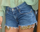 Vintage Denim Shorts with peek-a-boo leopard pockets and Gold Pyramid Studs (Size 6-7)