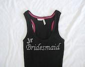 Jr Bridesmaid Tank Top Shirt. Bride, Maid of Honor, Matron of Honor. Black, White, Yellow, Purple, Blue, Pink