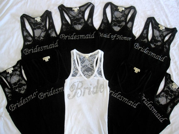 9 Bridesmaid Tank Top Shirt. Bride, Maid of Honor, Matron of Honor. Lace. Bachelorette  Party Shirts