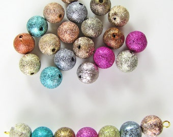 Round Matte multicolor textured acrylic beads 25 pieces