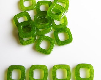 Translucent green square/ rhombus acrylic bead 15 pieces