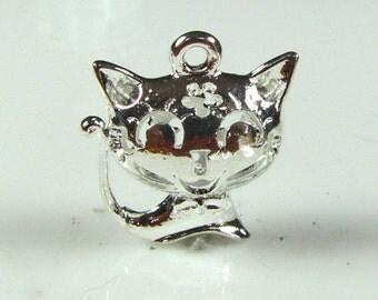 Cat charm Antique Tibetan silver, 2 pieces