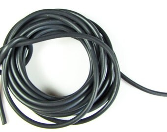 Rubber cord 4mm, solid, Black color, 10 feet