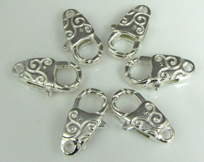 Bright silver lobster claws large 6 clasps