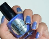 Nail Polish: Moonshine - Purple Blue Polish with Teal and Red Glitter
