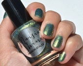 Nail Polish: Dragon Scales - Greenish Blue Polish with Gold Glitters