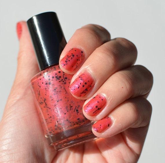 Pearl Nail Polish: Nail Polish: Hot Revenge Hot Pink Pearl With Black Glitters