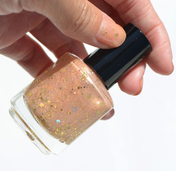 Nail Polish: Bellini - Pinky Peach Pearl with Gold Glitters
