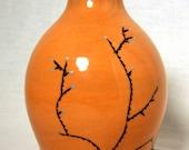 RESERVED FOR MAGGIE: Orange Bottle Vase with Desert Shrub