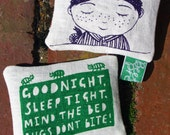 Organic scented linen lavender cushion. Illustrated boy and bugs with text.