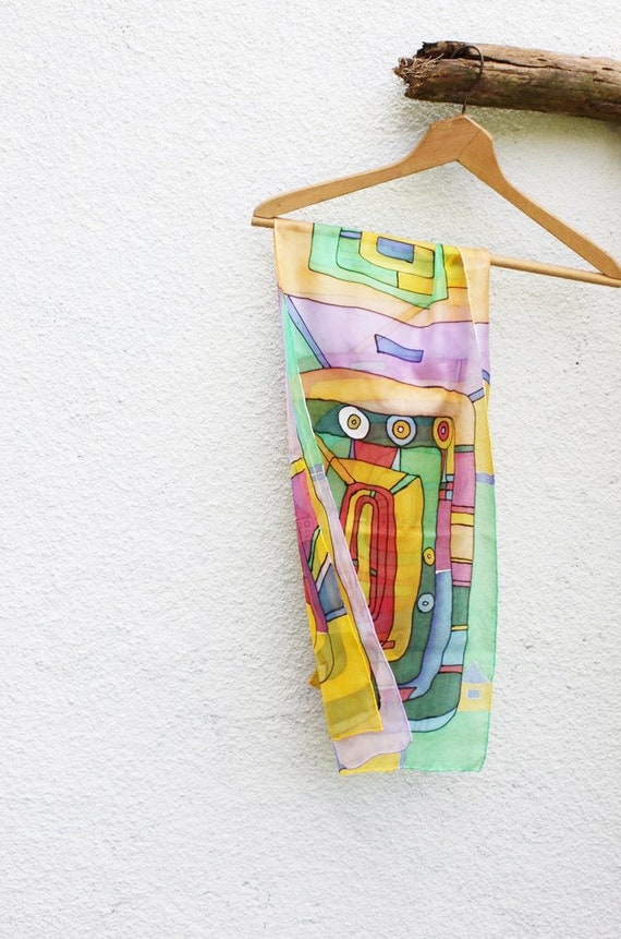 Colourful silk scarf batik Hundertwasser multicolor summer scarf fashion hand painted mothers day