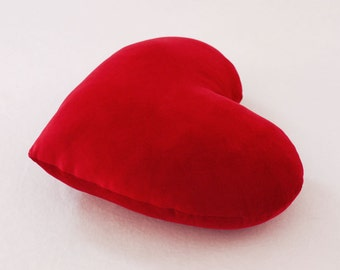 Scarlet Red Valentine Velvet Heart Shaped Plush Decorative Pillow - Medium Size
