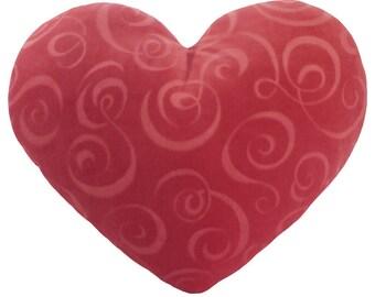 Pink Swirl Valentine Velvet Heart Shaped Decorative Pillow Gift for Her- Medium Size