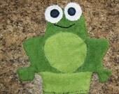 Frog Bath Mitt / Washcloth Cotton Original Handmade Eco friendly