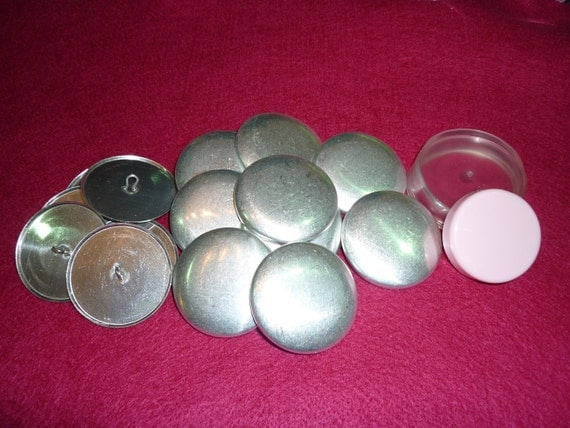 100 x  38mm (Size 60) Metal Self Cover Buttons (INCLUDES TOOL)  Flat back or Shank/Wire backs, DIY cover button -  Australia