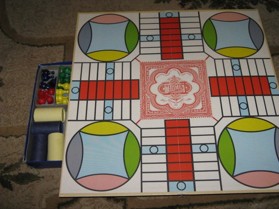Parcheesi Game with Pieces in Original Box from the 1950s Gold Seal Edition