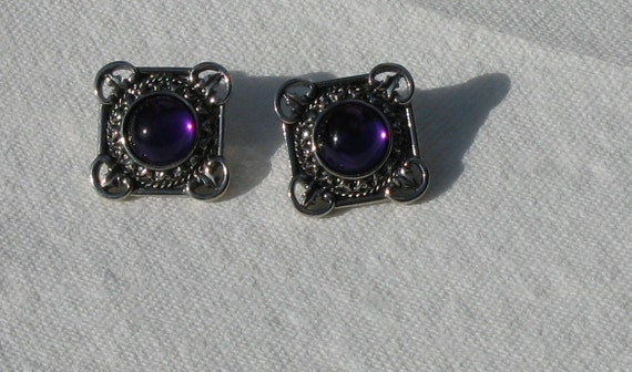 Silver Plated Square with Purple Circle Domed Center Earrings Perfect Fall Color