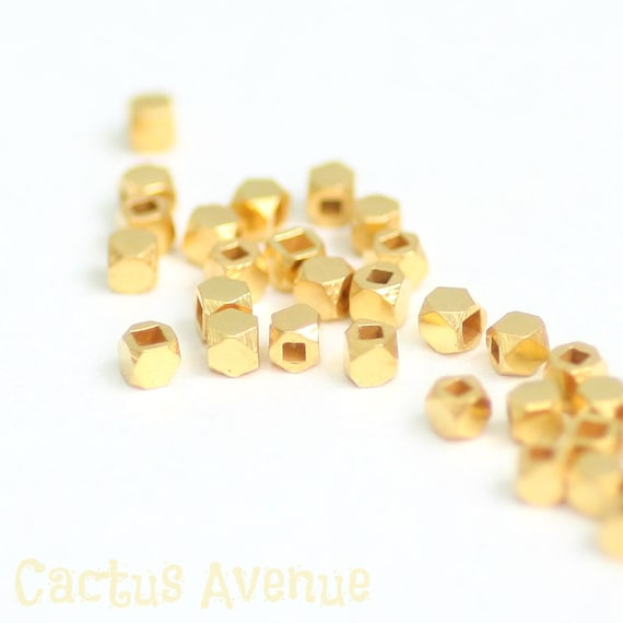 2mm 24K Gold Vermeil Beads, Faceted Cubes, Tiny Nuggets, Choose Quantity, V-4B